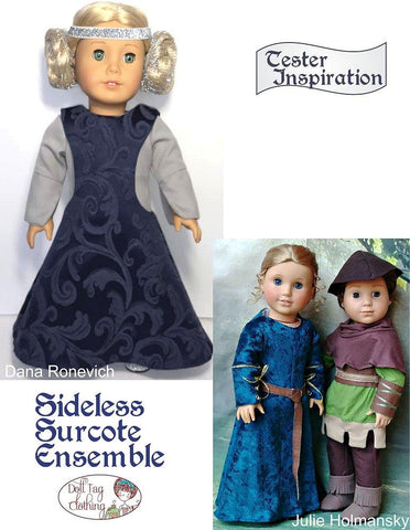 "Sideless Surcote Ensemble Medieval Collection 18"" Doll Clothes Pattern"