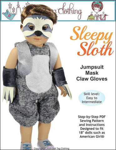 "Sleepy Sloth 18"" Doll Clothes Pattern"