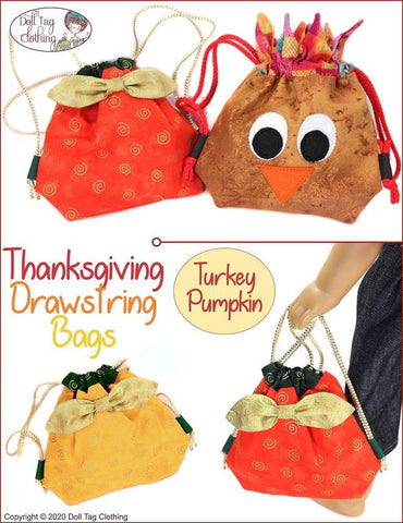 "Thanksgiving Drawstring Bags 18"" Doll Accessories Pattern"