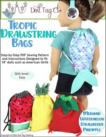 "Tropic Drawstring Bags 18"" Doll Accessories Pattern"