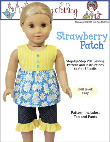 "Strawberry Patch 18"" Doll Clothes Pattern"