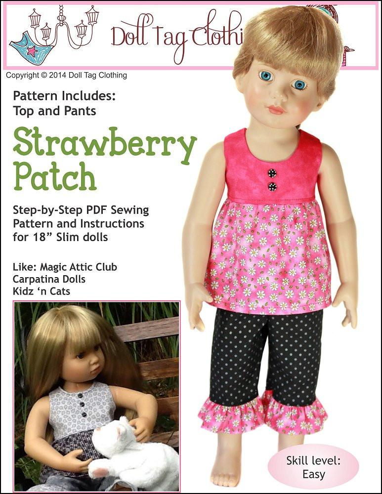 Doll Tag Clothing Strawberry Patch Doll Clothes Pattern 18 inch Slim ...
