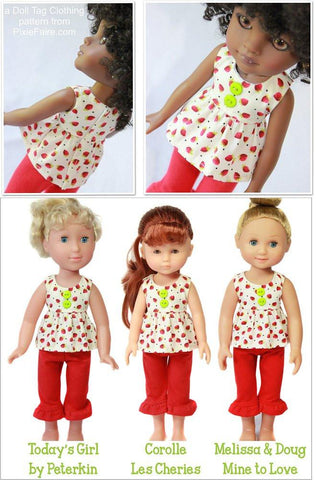 Strawberry Patch Top and Pants Pattern for Les Cheries and Hearts for Hearts Girls Dolls