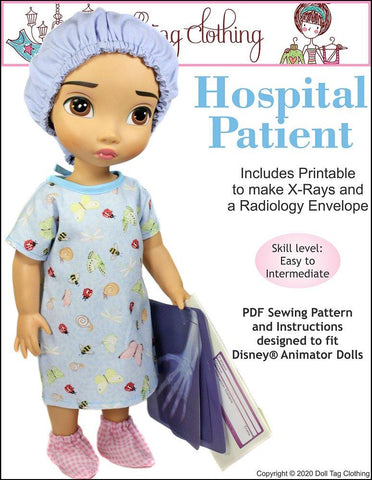 Hospital Patient Doll Clothes Pattern Designed to Fit Disney® Animators Dolls