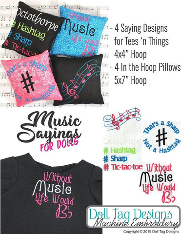 Music Sayings Pillows and Tee's Machine Embroidery Designs