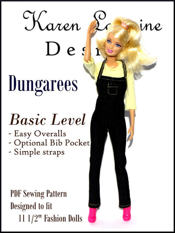 "Dungarees Pattern for 11-1/2"" Fashion Dolls"