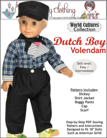 pdf doll clothes sewing pattern Dutch Boy Volendam designed to fit 18 inch American Girl boy dolls