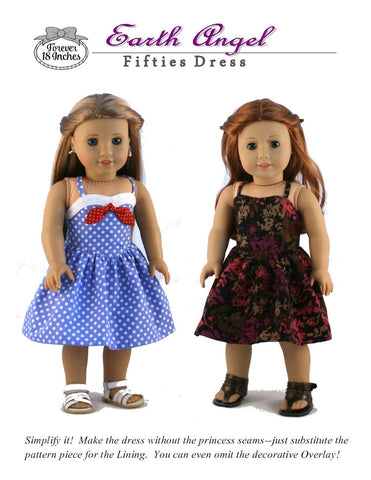 "Earth Angel Fifties Dress 18"" Doll Clothes Pattern"