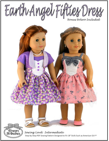 pdf doll clothes sewing pattern Forever 18 earth angel dress designed to fit 18 inch american girl dolls