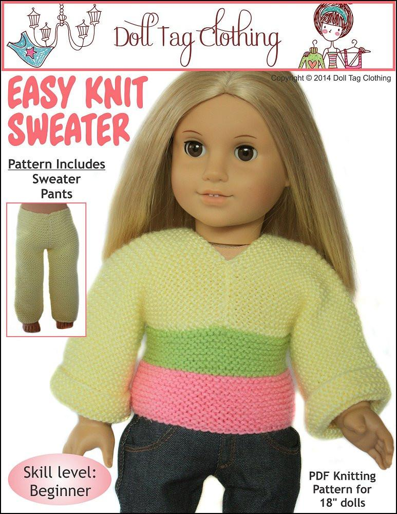 Easy Knit Sweater 18 inch Doll Clothes Pattern PDF ...