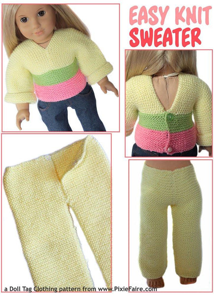 Easy Knit Sweater 18 Inch Doll Clothes Pattern Pdf