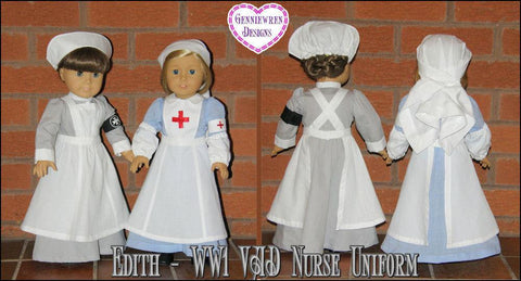 "Edith  WW1 VAD Nurse Uniform 18"" Doll Clothes Pattern"