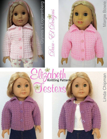 Dan El Designs Elizabeth pdf knitting pattern designed to fit 18 inch American Girl dolls