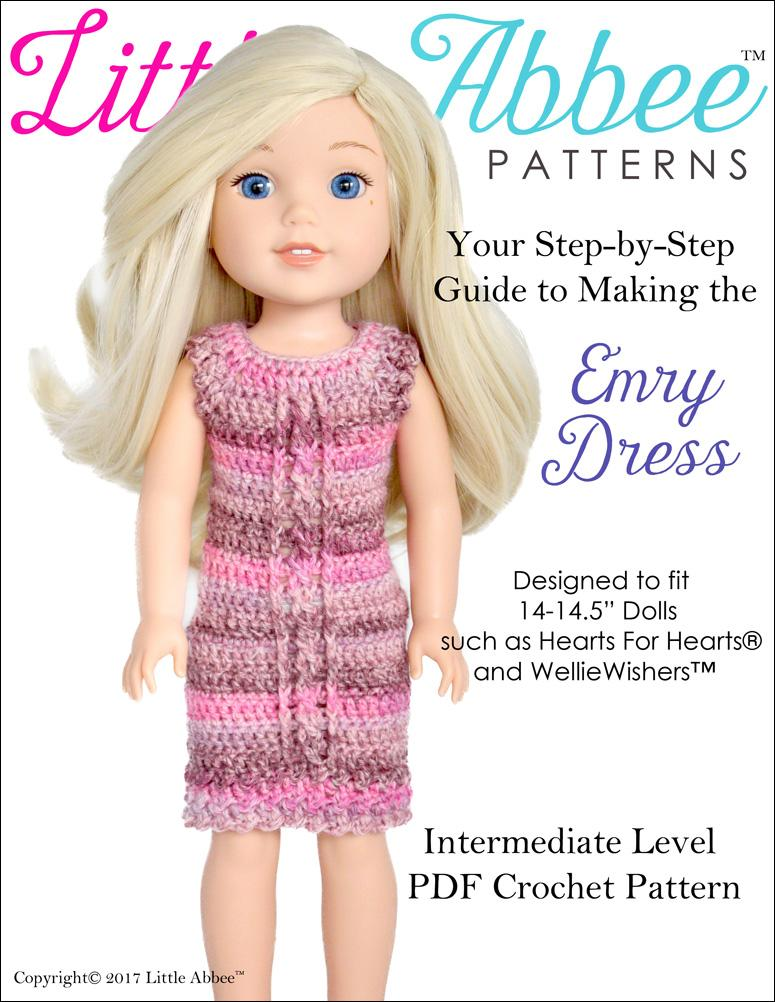 Little Abbee Emry Dress Doll Clothes Crochet Pattern For 14 145