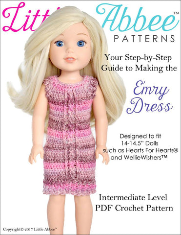 "Little Abbee WellieWishers Emry Dress Crochet Pattern for 14-14.5"" Dolls Pixie Faire"