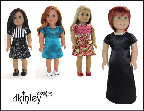 "Dkinley Designs 18 Inch Modern Energy Dress 18"" Doll Clothes Pattern Pixie Faire"
