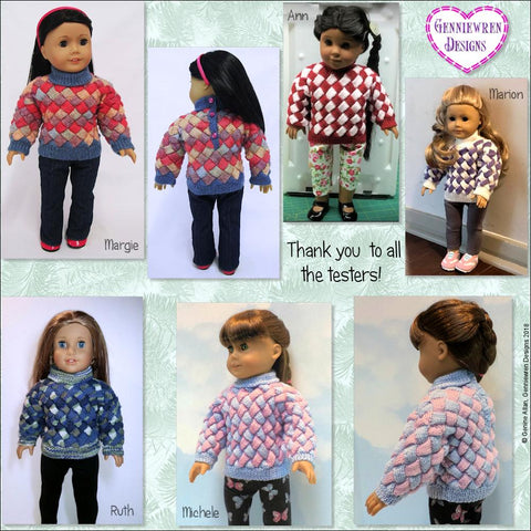"Entrelac Sweater 18"" Doll Knitting Pattern"