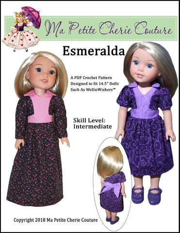 "Esmeralda Dress 14.5"" Doll Clothes Pattern"