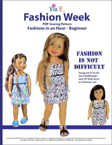 Via-E Fashion Week PDF sewing pattern designed to fit 18 to 19 inch Dollfriends and American Girl dolls