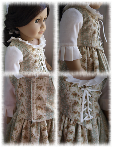 "1774 Colonial Elegance Dress 18"" Doll Clothes Pattern"