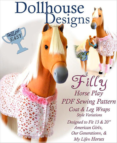 "Dollhouse Designs 18 Inch Modern Filly Horse Blanket and Accessories 18"" Doll Pet Pattern Pixie Faire"