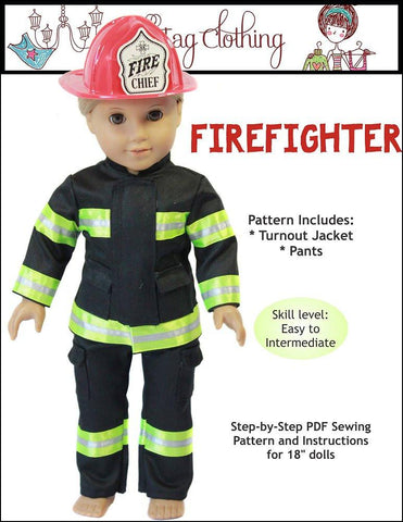 "Doll Tag Clothing 18 Inch Modern Firefighter Outfit 18"" Doll Clothes Pattern Pixie Faire"