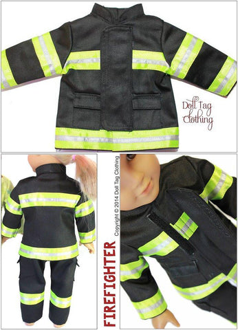 "Firefighter Outfit 18"" Doll Clothes Pattern"