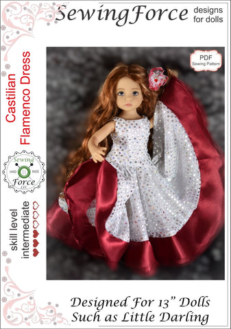 Sewing Force Little Darling Castilian Flamenco Dress Pattern for Little Darling Dolls Pixie Faire