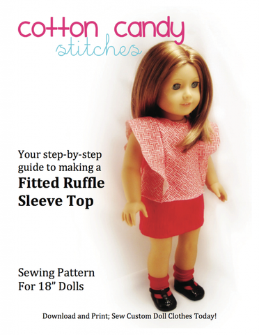 "Fitted Ruffle Sleeve Top 18"" Doll Clothes Pattern"