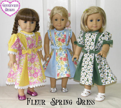 "Fleur Spring Dress 18"" Doll Clothes Pattern"