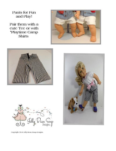 "Fly Front Pants and Cutoffs 15"" Baby Doll Clothes Pattern"