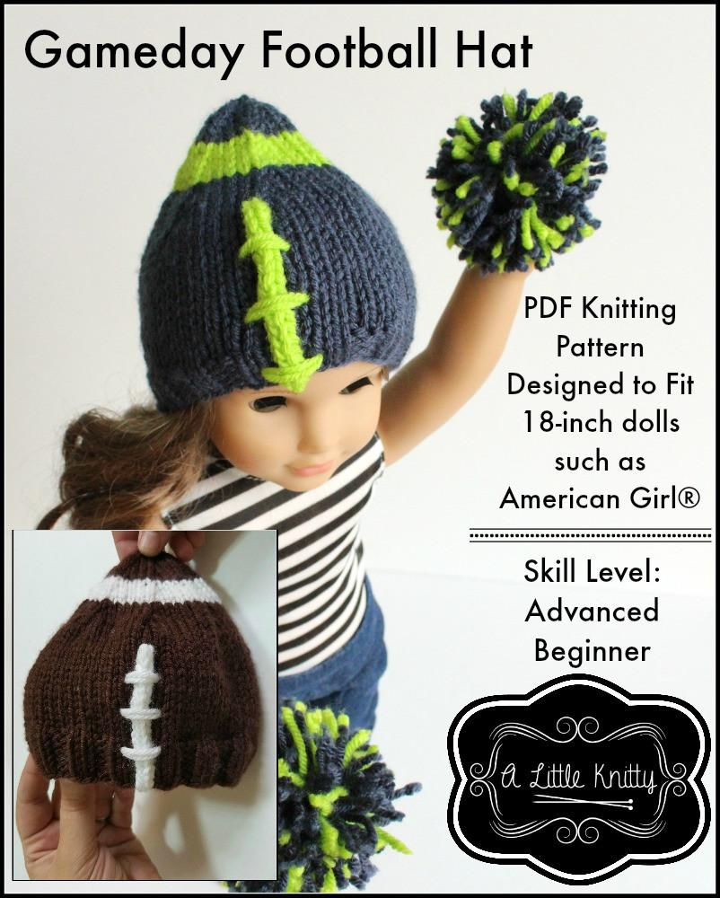 A Little Knitty Game Day Football Hat Doll Clothes Knitting Pattern ...