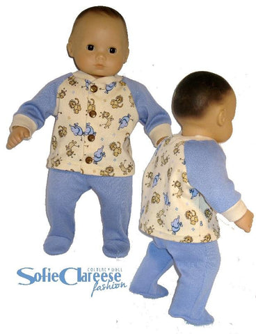 "Sofie's Baby Footed Pants & Cardigan Set 15"" Doll Clothes Pattern"