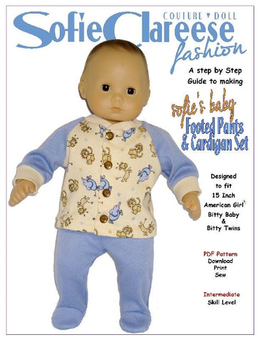 "Sofie's Baby Footed Pants & Cardigan Set 15"" Doll Clothes"