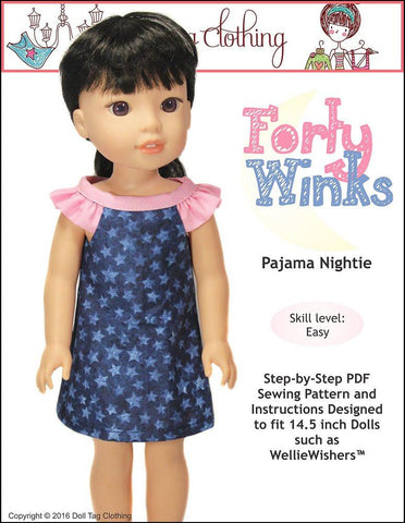 "Doll Tag Clothing WellieWishers Forty Winks 14.5"" Doll Clothes Pattern Pixie Faire"