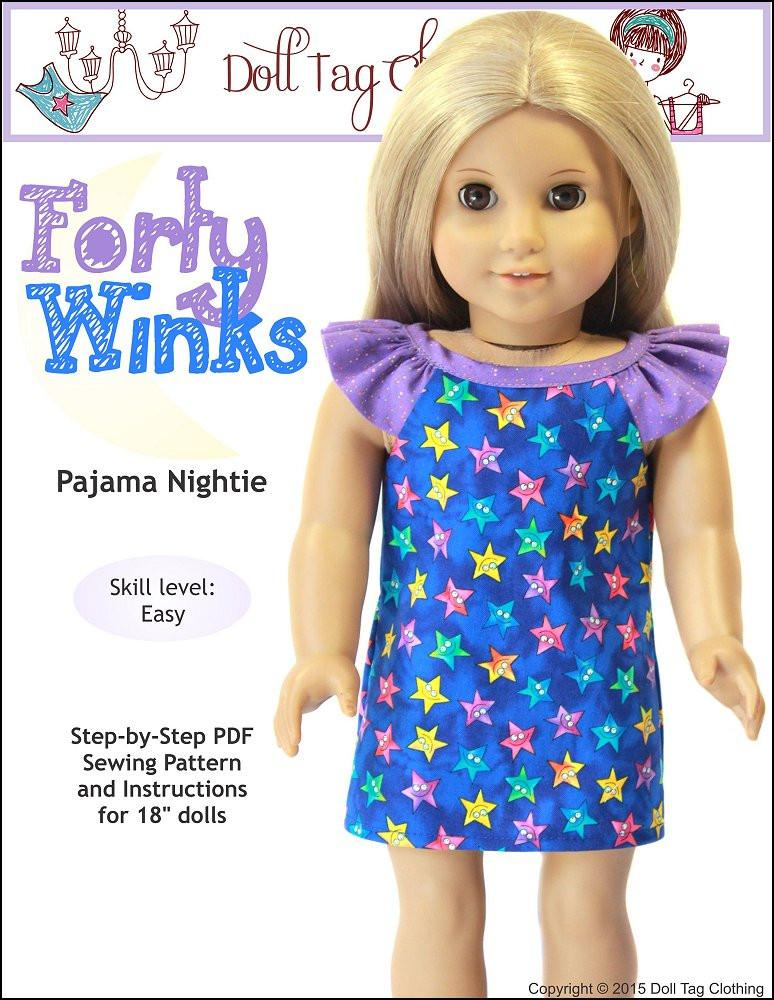 Doll Tag Clothing Forty Winks Doll Clothes Pattern 18 inch American ...