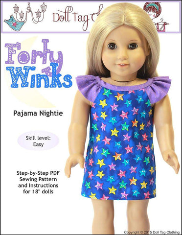 "Doll Tag Clothing 18 Inch Modern Forty Winks 18"" Doll Clothes Pattern Pixie Faire"