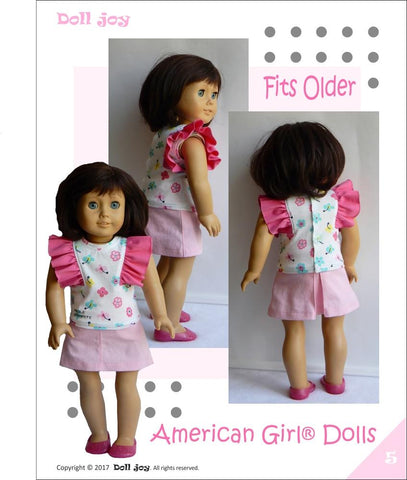 "Flutter-Sleeve Top 18"" Doll Clothes Pattern"