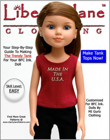 Liberty Jane BFC Ink FREE Tank Top Pattern for BFC, Ink Dolls Pixie Faire