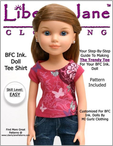 Liberty Jane BFC Ink FREE T-Shirt Pattern for BFC, Ink Dolls Pixie Faire