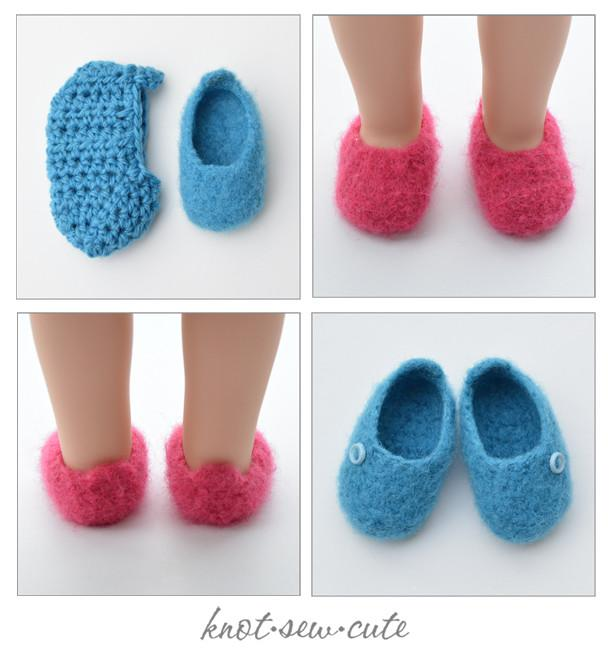 Knot-Sew-Cute Felted Slippers Doll Clothes Crochet and Felting ...