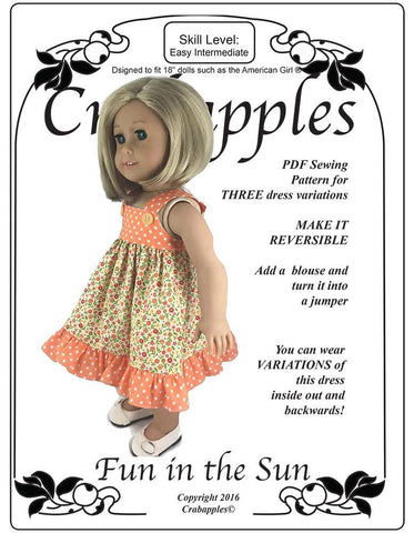 "Fun in the Sun 18"" Doll Clothes Pattern"