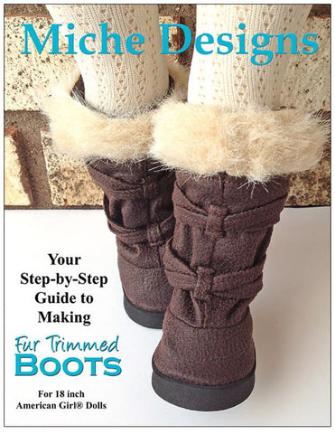 "Fur Trimmed Boots 18"" Doll Shoe Pattern"
