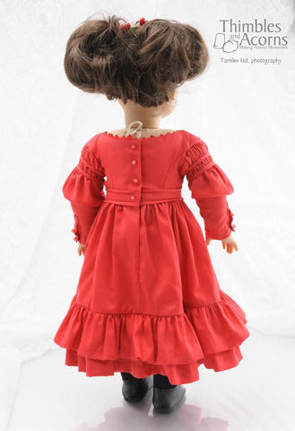 "1830s Gigot Sleeve Dress Bundle 16"" and 18"" Doll Clothes Pattern"