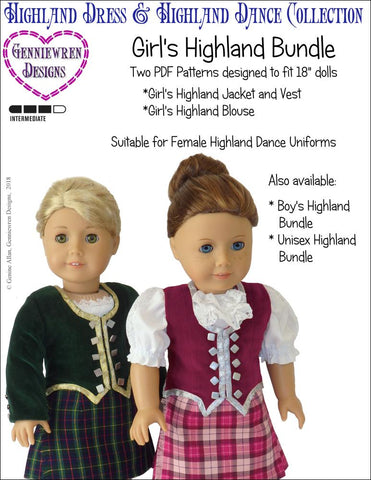 pdf doll clothes sewing pattern Genniewren designs girls highland bundle designed to fit 18 inch American Girl dolls