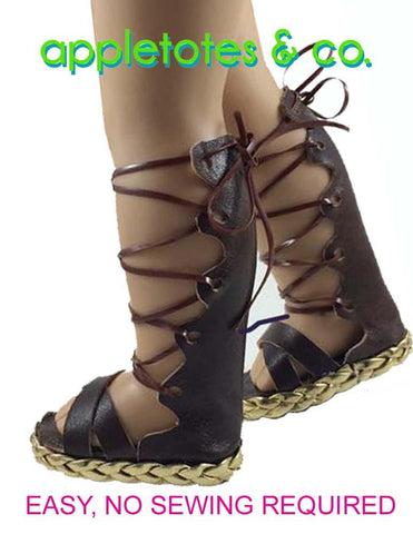 "Lace Up Gladiator Sandals 18"" Doll Shoe Pattern"