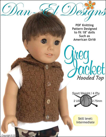 "Greg Jacket 18"" Doll Knitting Pattern"