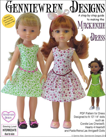 Mackenzie Dress Pattern for Les Cheries and Hearts for Hearts Girls Dolls