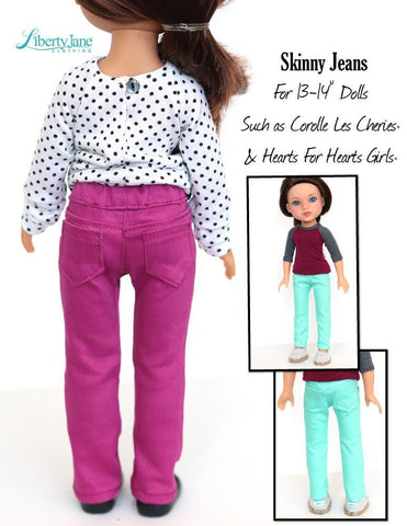 Skinny Jeans and Shorts Pattern for Les Cheries and Hearts For Hearts Girls Dolls