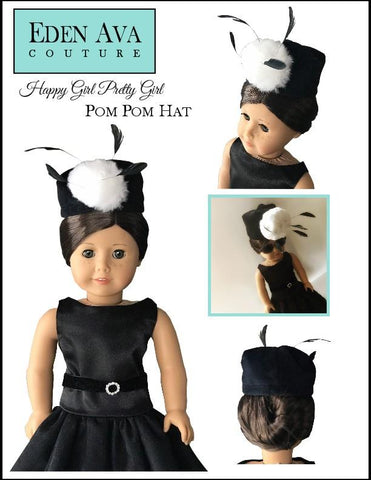 "Happy Girl Pretty Girl Pom Pom Hat 18"" Doll Clothes Pattern"